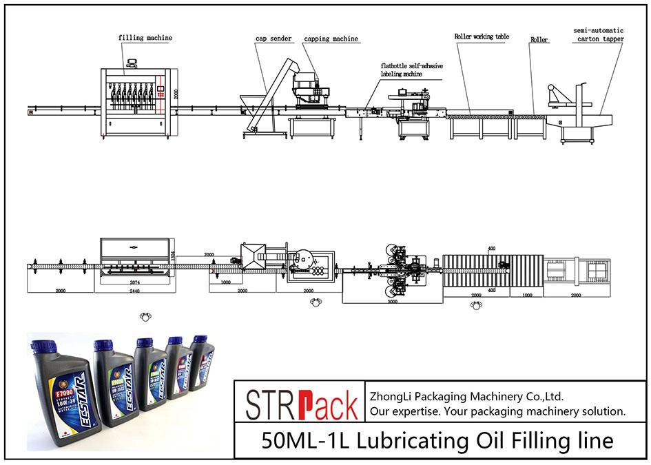 自動50ML-1L潤滑油充填ライン